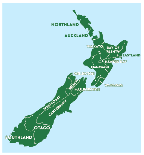 Country NZ map